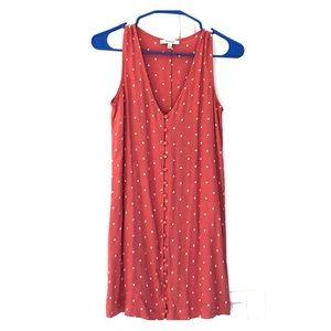 Sleeveless button front polka dot dress